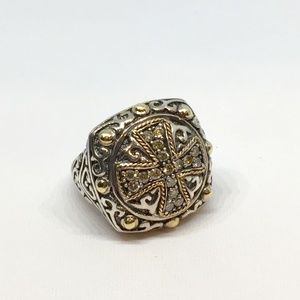 Effy 925 & 18k Diamond Cross Ring